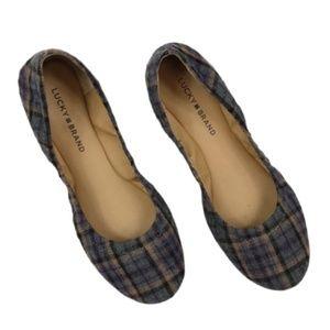Lucky Brand Gray Plaid Ballet Flats